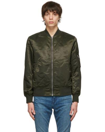 Zielona długa kurtka pikowana z nylonu Rag & Bone