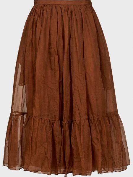 Коричневая шелковая юбка на молнии Rochas
