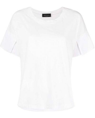 Прямая белая футболка с вырезом Roberto Collina