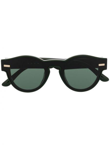 Прямые солнцезащитные очки круглые хаки Marni Eyewear