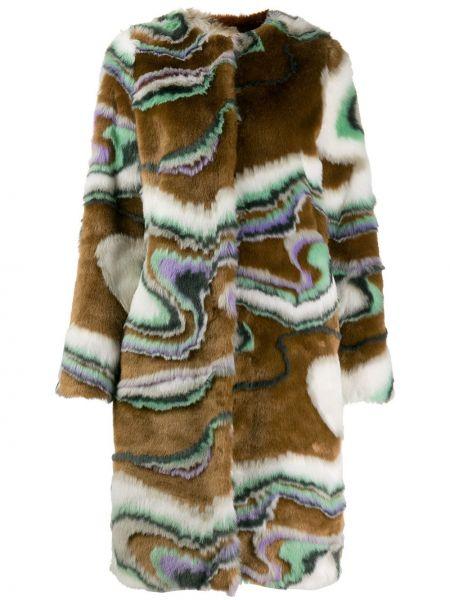 Коричневое длинное пальто с капюшоном из искусственного меха Marco De Vincenzo
