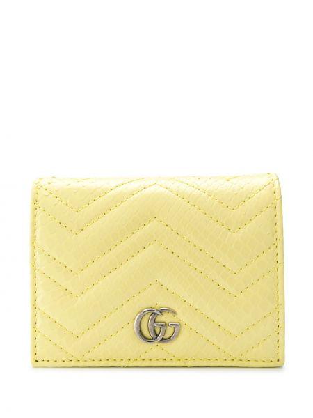 Portfel skórzany złoto z prawdziwej skóry z gniazdem z kieszeniami Gucci