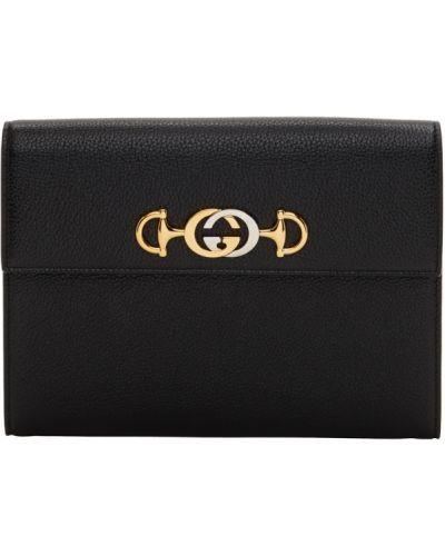 Skórzany czarny torba prążkowany z gniazdem Gucci
