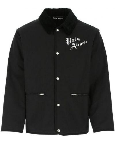Czarna kurtka sportowa z printem z długimi rękawami Palm Angels