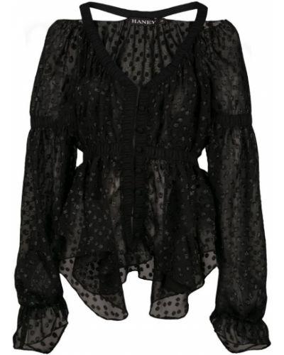 Блузка с длинным рукавом с поясом с рюшами Haney