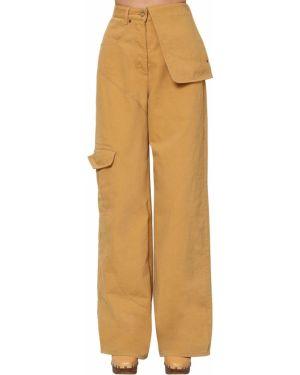 Żółte spodnie z wysokim stanem bawełniane Jacquemus