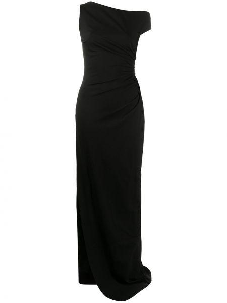 Открытое черное вечернее платье с разрезом Dsquared2