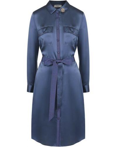 Платье с поясом платье-рубашка шелковое Weill