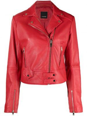Красная кожаная короткая куртка байкерская Pinko