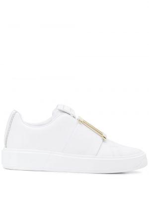 Золотистые кожаные белые слипоны Balmain