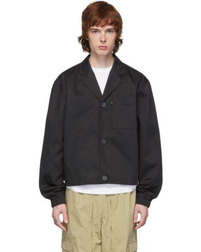Czarna długa kurtka bawełniana z długimi rękawami Xander Zhou