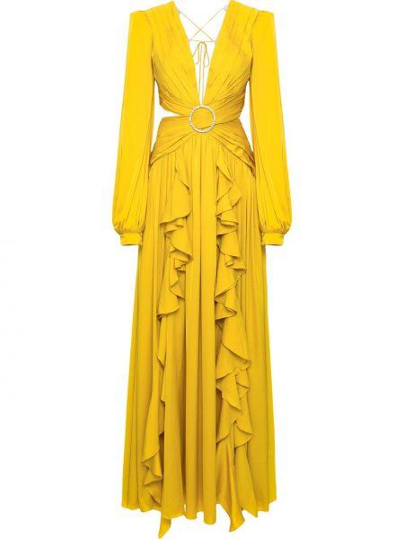 Открытое желтое платье с рукавами с открытой спиной на молнии Patbo