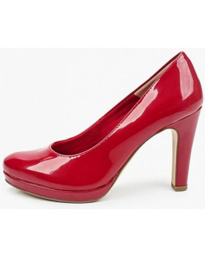 Лаковые кожаные красные туфли Tamaris