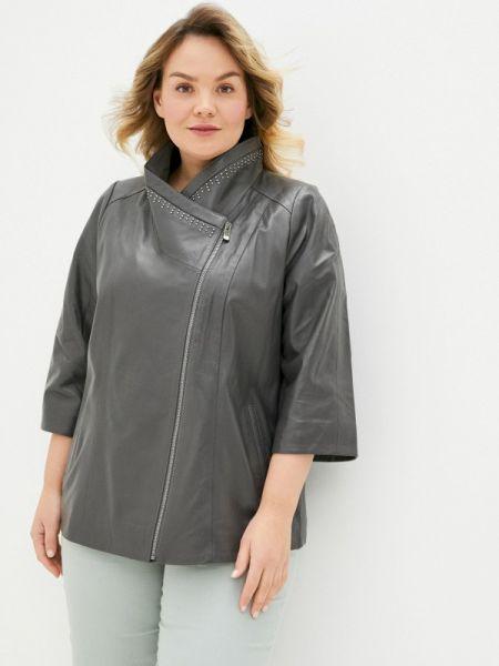 Кожаная серая кожаная куртка Le Monique