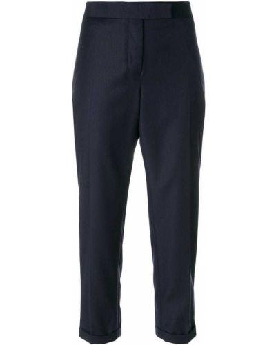 Укороченные брюки со складками шерстяные Thom Browne