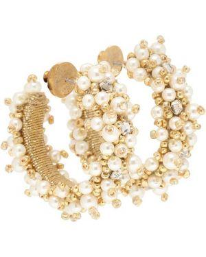 Серьги с жемчугом золотые серьги-кольца Oscar De La Renta