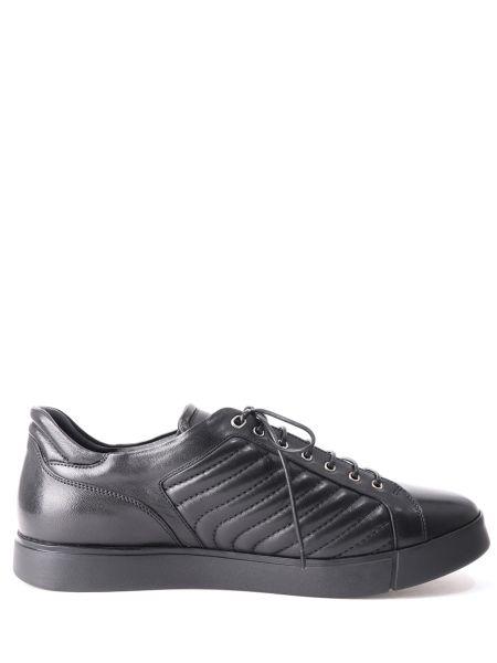 Кожаные черные кеды на шнуровке с мехом Franceschetti
