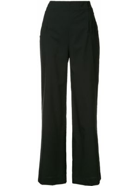 Черные расклешенные брюки с карманами на пуговицах Nehera