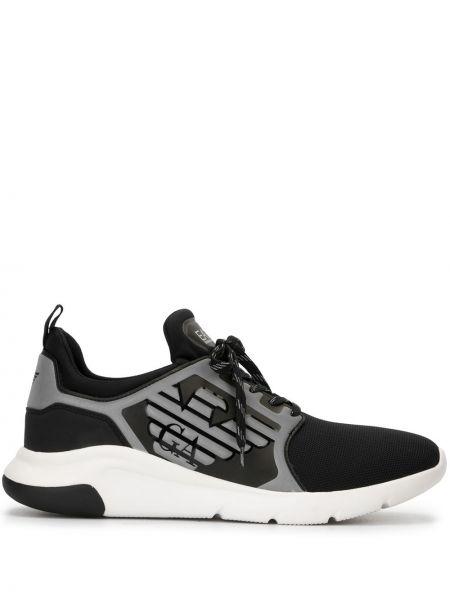 Черные высокие кроссовки сетчатые с заплатками на шнурках Ea7 Emporio Armani
