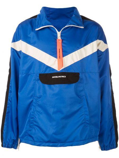Niebieska długa kurtka z nylonu z długimi rękawami Daniel Patrick