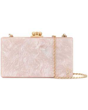 Золотистая розовая сумка на цепочке прямоугольная Edie Parker