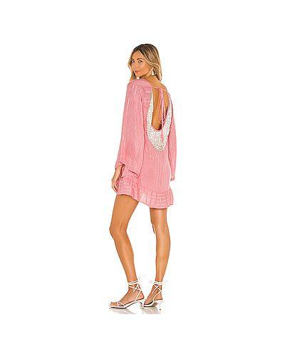 Розовое платье мини с бахромой из вискозы Sundress