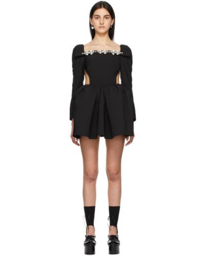 Czarna sukienka mini z długimi rękawami srebrna Shushu/tong