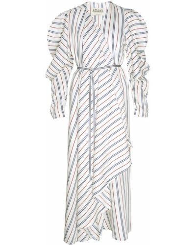 Шелковое бежевое платье с поясом A.w.a.k.e.