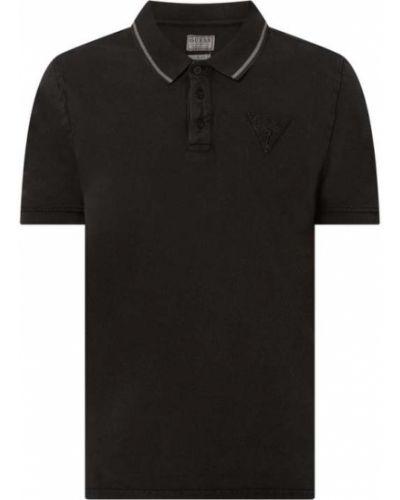 Czarny t-shirt bawełniany z paskiem Guess