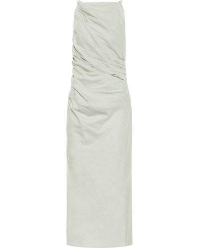 Ватное льняное бежевое платье миди Jacquemus