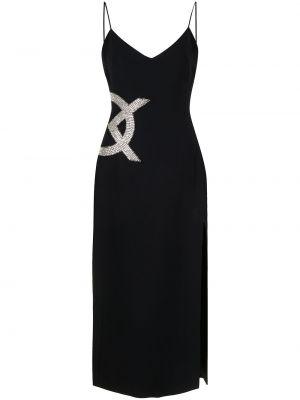 Прямое черное платье миди с разрезом David Koma