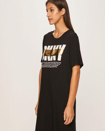 Koszula krótkie rękawy długo czarny Dkny