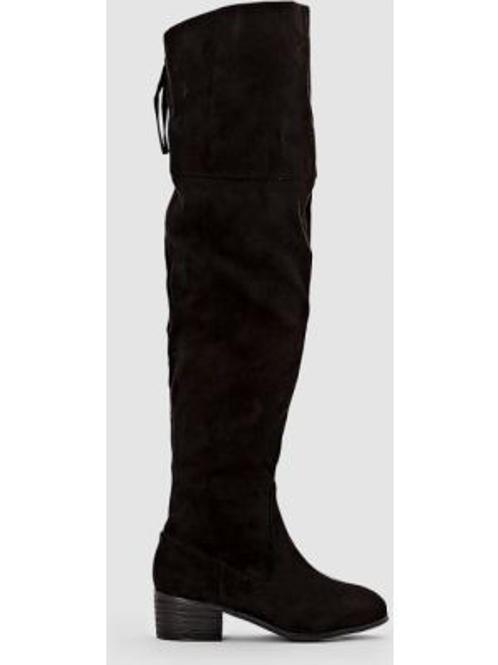 Кожаные сапоги на плоской подошве на широком каблуке Castaluna