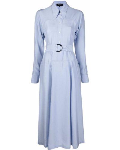 Шелковое платье миди - синее Rochas