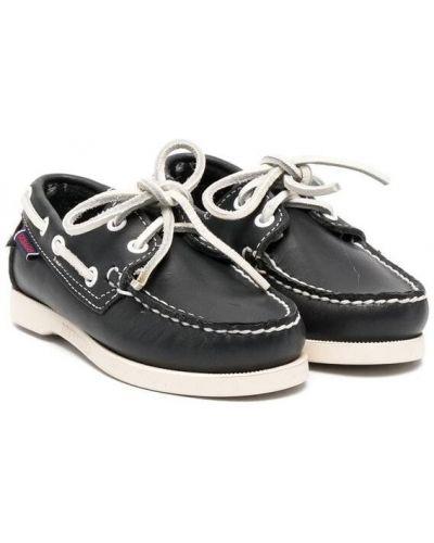 Черные кожаные топсайдеры на шнуровке Sebago