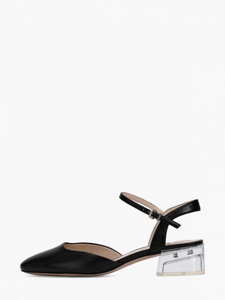 Кожаные туфли черные с открытой пяткой Ekonika