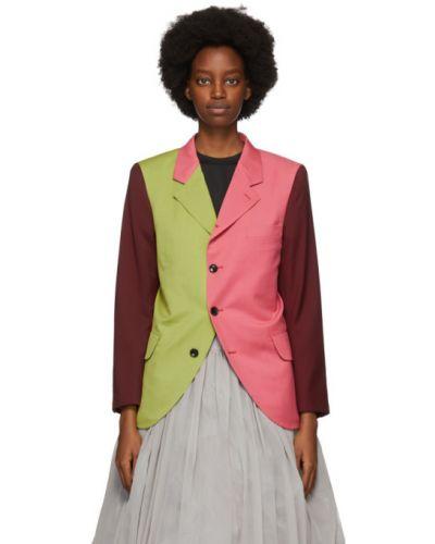 Шерстяной красный удлиненный пиджак с карманами Comme Des Garçons