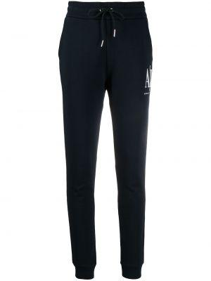 Хлопковые синие спортивные брюки эластичные Armani Exchange