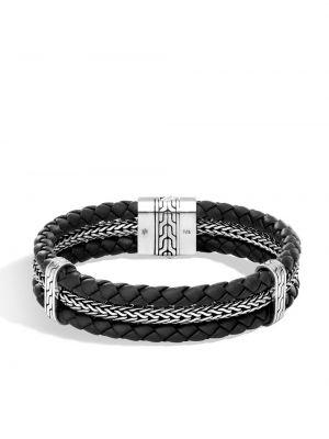 Плетеный классический кожаный черный плетеный браслет John Hardy