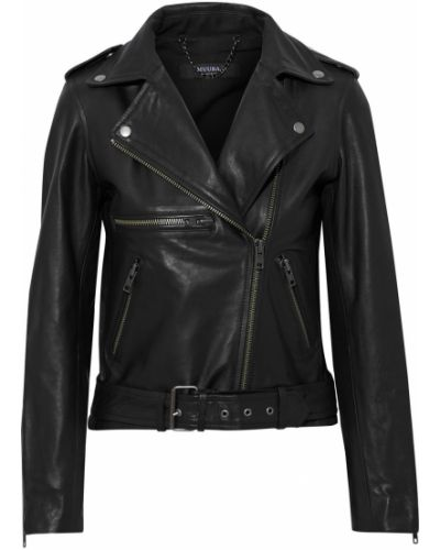 Черная кожаная кожаная куртка Muubaa
