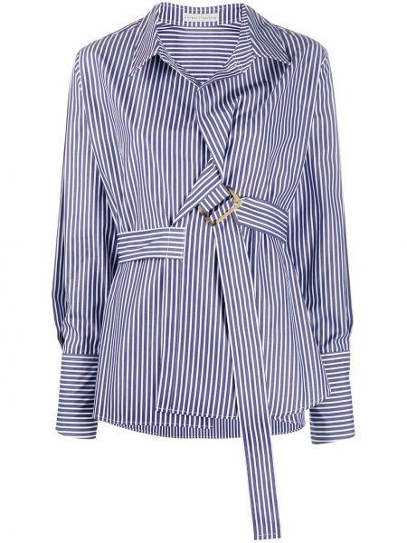 Хлопковая синяя рубашка с поясом Palmer / Harding