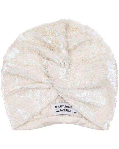 Biały turban z cekinami z wiskozy Mary Jane Claverol