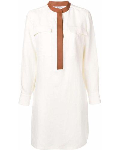 С рукавами кожаное белое платье макси Loro Piana