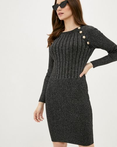 Ватное хлопковое прямое серое платье Fresh Cotton