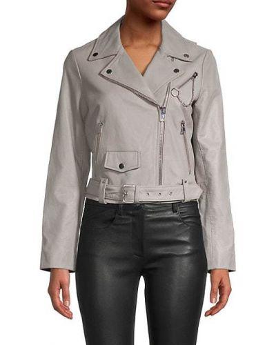 Ватная кожаная длинная куртка с подкладкой Maje