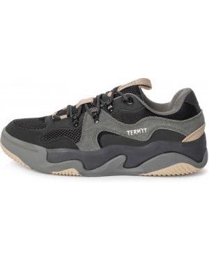 Спортивные кожаные черные кеды на шнуровке Termit