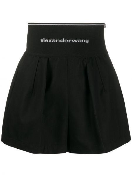 Czarne krótkie szorty z wysokim stanem bawełniane Alexander Wang