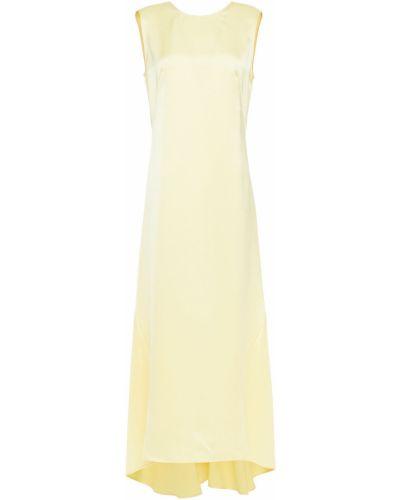 Ażurowa żółta satynowa sukienka midi Cedric Charlier
