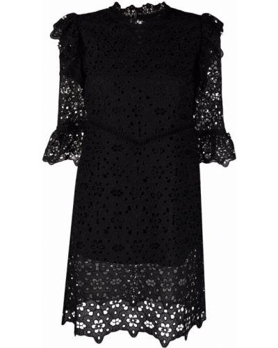 Czarna sukienka mini koronkowa bawełniana Vivetta