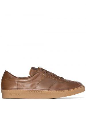 Brązowe sneakersy skorzane Tom Ford